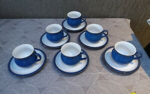 6 Denby Imperial Blue Cups And Saucers