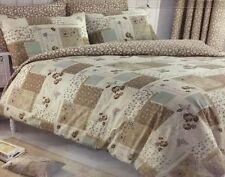 BROWN BEIGE & NATURAL VINTAGE PATCHWORK SINGLE BED DUVET COVER & PILLOWCASE SET