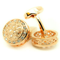 Cufflinks Crystal Rose Gold Stones Circular Round Wedding Mens Pair Cuff Links