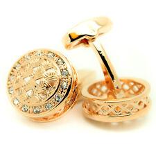 Rose Gold Crystal Cufflinks Stones Circular Round Wedding Mens Pair Cuff Links