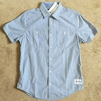 CALVIN KLEIN JEANS Mens Forever Blue Short Sleeve Shirt (Small) NWT $59.50