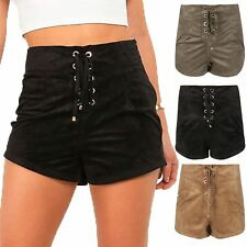 Ladies Shoe Lace Eyelet Detail Womens Hot Pants High Waisted Mini Suede Shorts