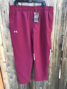 NWT $60 UNDER ARMOUR UA Storm Squad Woven Warm Up Track Pants Maroon Red Sz 3XL