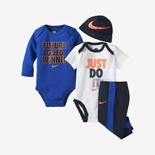 0//–/6/mesi, blu Nike Futura Completino da 3 pezzi per neonati con logo/