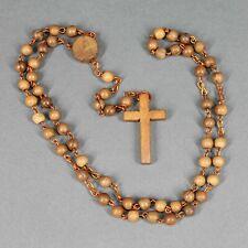 chapelet ancien fait de perles rondes en bois - chaîne cuivrée