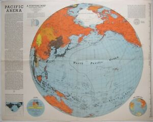 "Original 1942 Richard Edes Harrison Persuasive Map ""PACIFIC ARENA"" World War II"