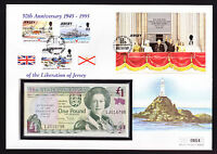1995 Jersey £1 Banknote on Mini Sheet Stamp Cover Liberation War Anniversary FDC