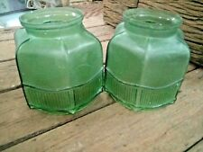 PAIR OF ANTIQUE VICTORIAN GREEN CUT GLASS ELECTRIC LAMP 2 SHADE