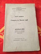 31e session - Congrès de Namur 1938 - Annales de J. Balon - Fascicule 4 - R1