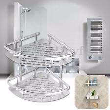 Bathroom 2 Tiers Shower Caddy Shelf Corner Rack Storage Basket Hanger Hook
