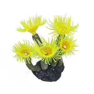 Yellow Artificial Fake Sea Anemone Coral Plant Aquarium   Tank Ornament Decor
