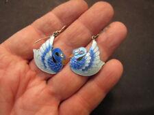 sterling silver enamel bird earrings
