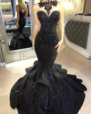Black Celebrity Applique Beaded Prom Dresses Party Pageant Formal Evening Gowns