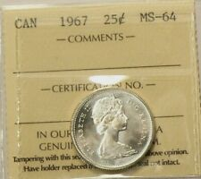 1967 Canada 25 Cents ICCS MS 64 #2625