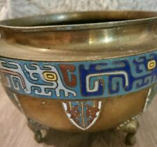 Antique Chinese Brass/Enamel Footed Cloisonne Planter/Vase