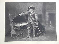 Orginal c1850 Antiquarian Engraving; Oliver Cromwell Viewing Body of Charles 1st