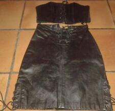 JOHNNY HALLYDAY ULTRA RARE ENSEMBLE JUPE ET BUSTIER EN CUIR VERITABLE 34/36