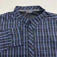 Arc'teryx Button Up Shirt Men's Size 2XL XXL Long Sleeve Black Blue Plaid