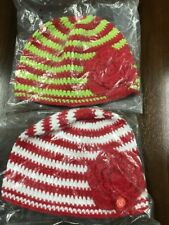 Lolly Wolly Doodle Girls MEDIUM red white green Crochet Beanie 2 Lot NEW