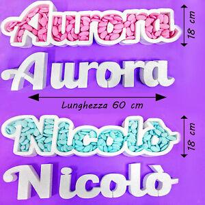 Portaconfetti Personalizzabile con Nome o scritta in Polistirolo per compleanno