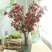 100x Mini Artificial Flower Christmas Red Berry Holly Branch Wedding Party Gifts