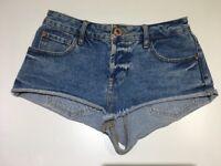 River Island Size 6 Denim Blue Shorts Hot Pants