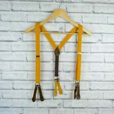 Handmade Button On Braces - Mustard Yellow Harris Tweed