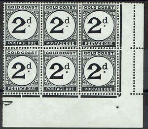 GOLD COAST 1951 POSTAGE DUE 2D BLOCK VARIETY LARGE D MNH **