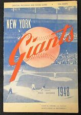 May 2, 1948 New York Giants vs Boston Braves Game Program