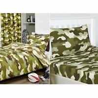 Camouflage Armée Vert Set Housse de Couette Simple+Drap Housse+ Taie D'Oreiller