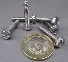 18-8 Stainless Hex Washer Head Slotted Machine Screw 10-24 x 1.0
