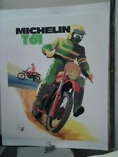 AFFICHE ANCIENNE PNEU MOTO MICHELIN T61 CLERMONT FERRAND PUY DE DOME