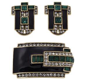 "Heidi Daus"" Dapper and Debonair"" Pierced Earrings & Pin Set Enamel +Swarovski"