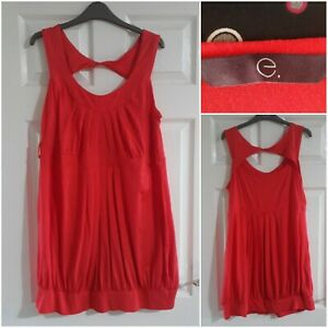 Evans Coral Red Top Size 22 Sleeveless Pleated Casual Stretch Holiday Party