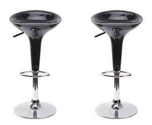 New Bold Tones Modern Height Adjustable Swivel Kitchen Bar Stools, Set of 2