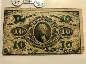 FRACTIONAL CURRENCY 10c F-1255 GREEN BACK   ON SALE!