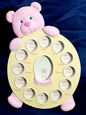 RUSS Baby's First Year Photo Frame Pink Teddy Bear Girl Gift