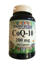 Vitamins Because - Pure Coenzyme - CoQ-10 200mg - 200 Caps Best By 05/31/2021