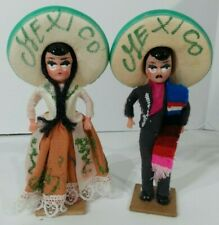 Vintage Pair Souvenir Mexico Dolls Couple Sombrero Hand Made Painted Mariachi