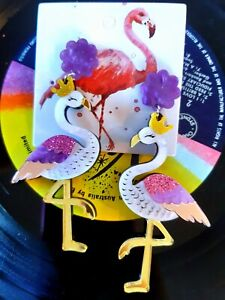PURPLE PINK FLAMINGO BIRD EARRINGS Quirky Unique Rockabilly Retro Pinup Earring