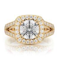 Engagement Diamond Ring Brilliant Round Cut 14k Yellow Gold 2 Carat E SI2