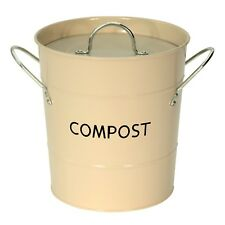 Buttercream Compost Caddy with inner bucket - Kitchen Compost Bin - Metal Pail