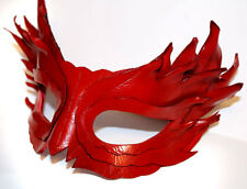 Pure Cinnabar Feather Mask Handmade Leather Mask Venetian Masquerade Red
