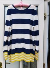 BODEN Ladies Navy/Ivory & Yellow Cashmere Jumper UK16 (Will Fit UK 16-18)