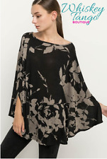 Boatneck Floral Poncho - L - Charcoal Black & Taupe - by Mittoshop