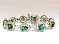 10.62ct natural emeralds diamond halo bracelet 14kt+