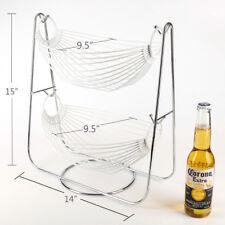 Double Hammock Silver Fruit / Vegetables Metal Basket Rack Display Stand