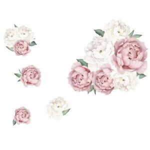 Peony Flowers Pink Individual Wall Sticker Bedroom Nursery Decals Kids Art AU