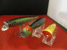 3 WOODEN SALTWATER STRIPER SURF FISHING LURES