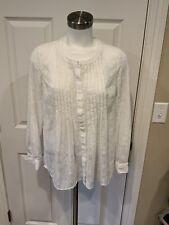Meadow Rue Anthropologie White Paisley Tuxedo Ruffle Shirt, Size XS